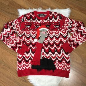 Ugly Christmas Sweater red & black with ostrich, L
